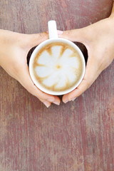 Hot Latte, Coffee cup in woman hand
