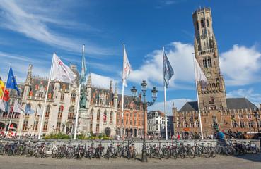Bruges - Grote markt with the Belfort van Brugge