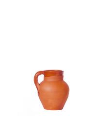 Jarra pequeña de ceramica roja, tecnica vidriado, artesania