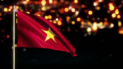 Vietnam National Flag City Light Night Bokeh Loop Animation