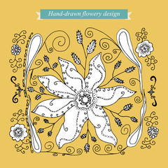 Hand-drawn flowery design on mustard yellow background