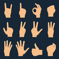 Hands vector flat icons set