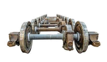 Spare railway wheels on the axle in a repair workshop
