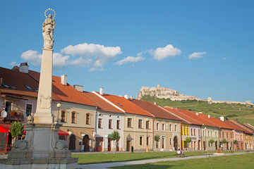 The Square of Spisske Podhradie and the ruins of Spissky castle