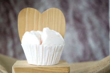 cupcake on wooden