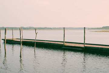 Wooden pier and tree in the Soustons lake, Landes, France