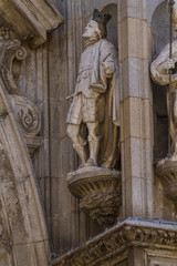 medieval, facade of the Cathedral of Toledo, Spain