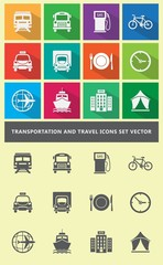 Transportation and travel icons set vector