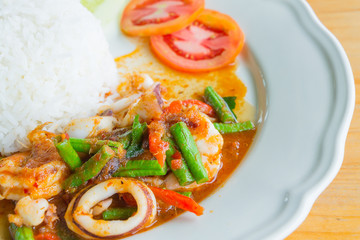 Stir fried seafood and curry