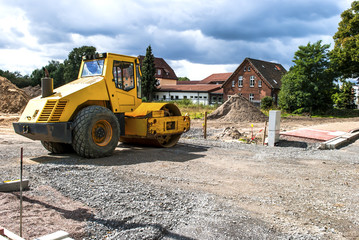 Road roller on construction site