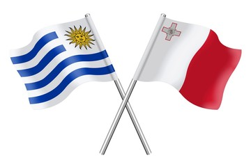 Flags : Uruguay and Malta