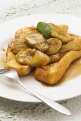 焼きバナナフレンチトースト メープルシロッ