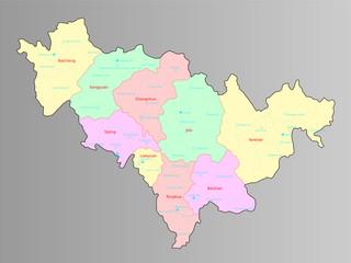 Administrative territory of Jilin Province,China
