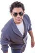 attractive man in sweater with sunglasses