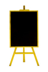 Blank chalkboard in wooden frame isolated on white background
