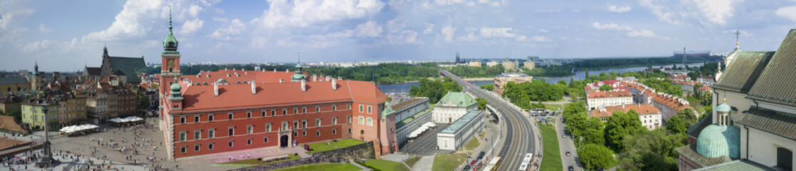 Panorama of the old town in Warsaw, Poland.