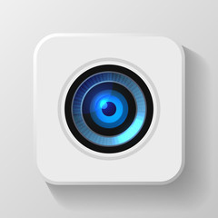 Blue Camera Lens Icon on White. Vector
