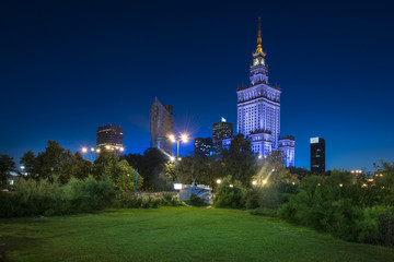 Night view of Warsaw city downtown
