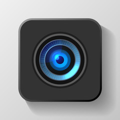 Blue Camera Lens Icon on Black. Vector