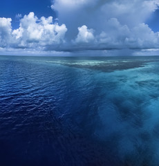 Caribbean Sea, Belize, view of the Blue Hole border