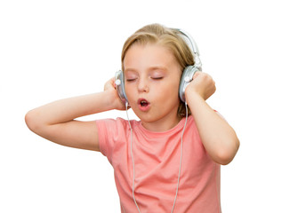 Girl listens to music.