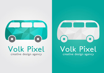 Volk Pixel creative icon symbol. Sweet flat modern with a pixel