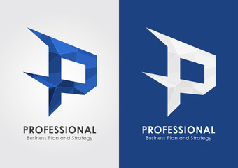 P Professional. Symbol icon from an alphabet P.