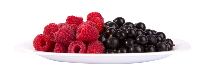 Black currants and raspberries