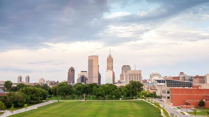 Indianapolis skyline during sunset, Indiana, USA