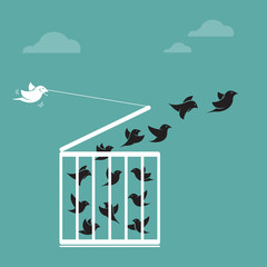 Vector image of a bird in the cage and outside the cage. Freedom