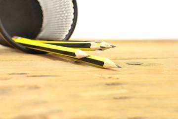 Pencils on wood