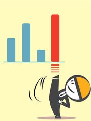 Business man kicks graph