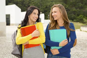 Two beautiful teenage students