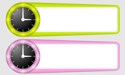 green and purple frames for any text with watches