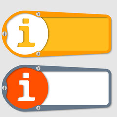 set of two boxes for any text with info symbol