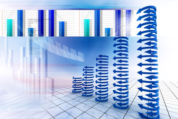 Business graph in abstract background