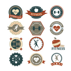 Set of various sports and fitness logo graphics and icons