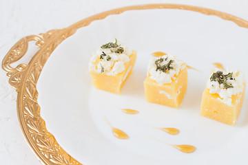 Cheesy Corn Bites with Savory and Honey