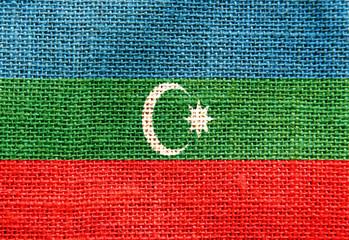 Azerbaijan flag sackcloth texture