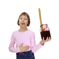 Girl with a jar of jam