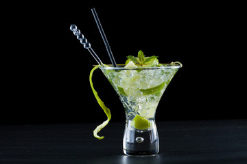 lime Mojito over black  background