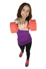 Young fitness woman with dumbbells