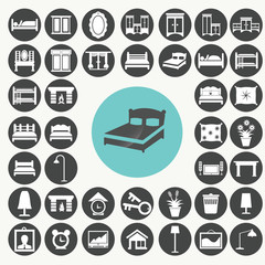 Bedroom Furniture and Accessories icons set. Illustration eps10