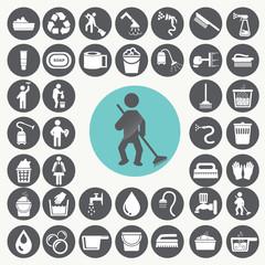 Cleaning icons set. Illustration eps10