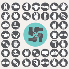 Sign Language Hands icons set. Illustration eps10