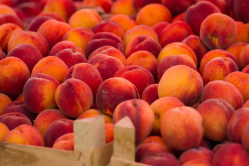 Organic peaches at the market