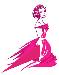 beautiful woman with retro hairstyle wearing pink dress