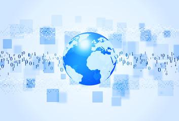 Binary Code Blue Background
