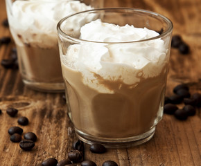 Latte Coffee in Glasses with Cream