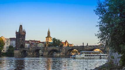 Prague, Czech Republic. View of the bank Vltava during sunset